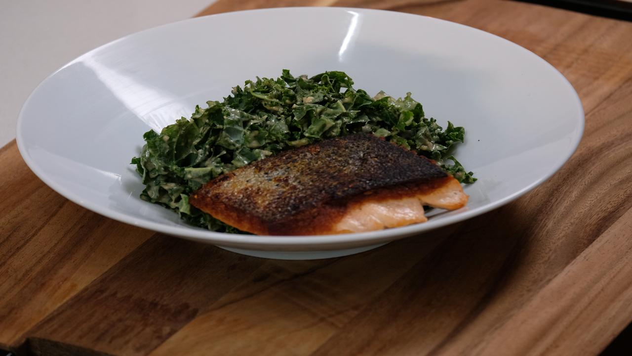 Kale Caesar Salad With Skin On Salmon